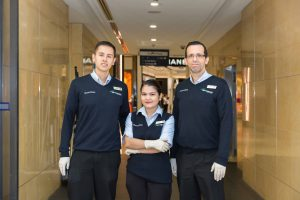 Three Springmount Services cleaning team from Queensland Plaza