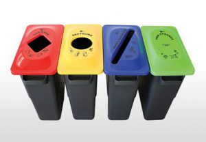 4 colour-coded multi-sort waste management collection bins