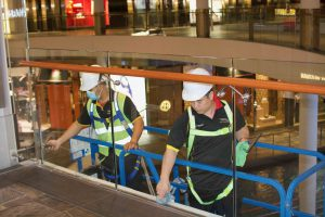 Height Glass-Cleaning-Interior within safety barriers