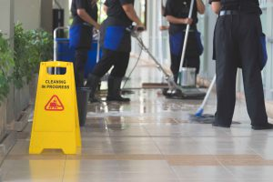 Springmount Services team polishing floor