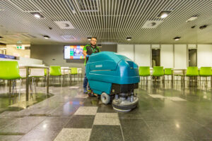 Close up Man with scrubber at QUT food court