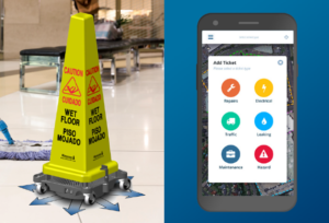 Wet floor safety cone with dryer at base and mobile incident app