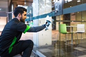 Glass door Cleaning from outside