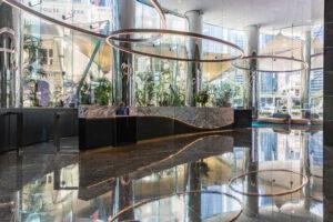 Marble floor commercial building reception area