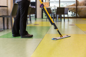 Floor mopping side view