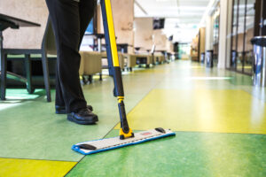 Floor mopping close up
