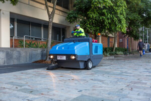 Street sweeper on pavement at QUT