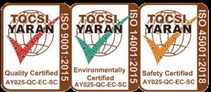 Three Springmount ISO TQCSI YARAN certifications